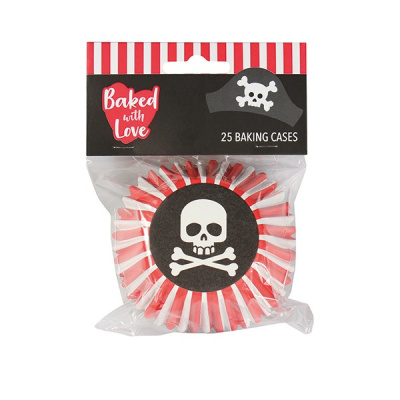 Pirat Totenkopf  Cupcake Förmchen Papier  foliert - Backformen  25 Stk. 5 x 3,7 cm von Baked with Love von Culpitt Baking Case foiled Pirate