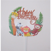 Acryl Topper Happy Birthday Zoo Safari Tiere Kinder bunt...