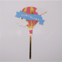 Acryl Topper Happy Birthday Ballon Gold -  bedruckt in...