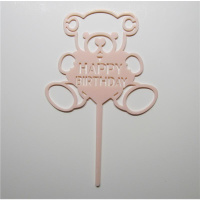 Acryl Topper Happy Birthday Bär Rosa Pink  ca. 11  x 11...