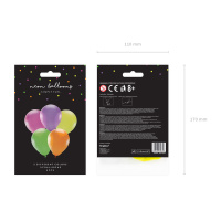 NEON Ballons mix 25 cm groß, 5 Stk Packung - je 1 x...
